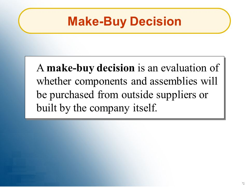 Make-Buy Decision