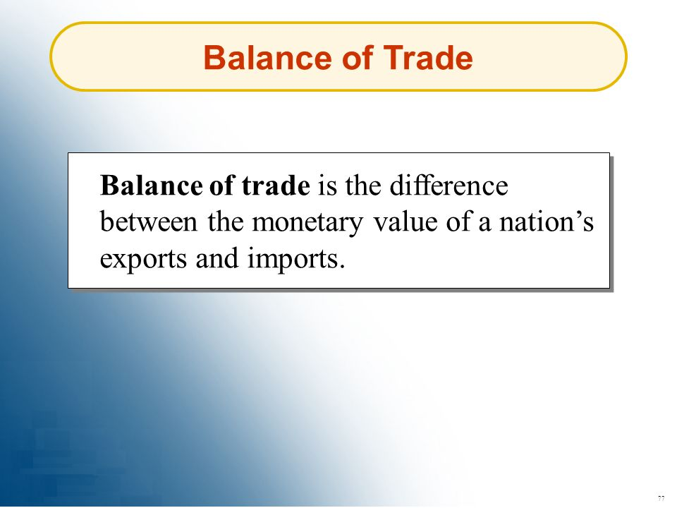 Balance of Trade Balance of trade is the difference between the monetary value of a nation's exports and imports.