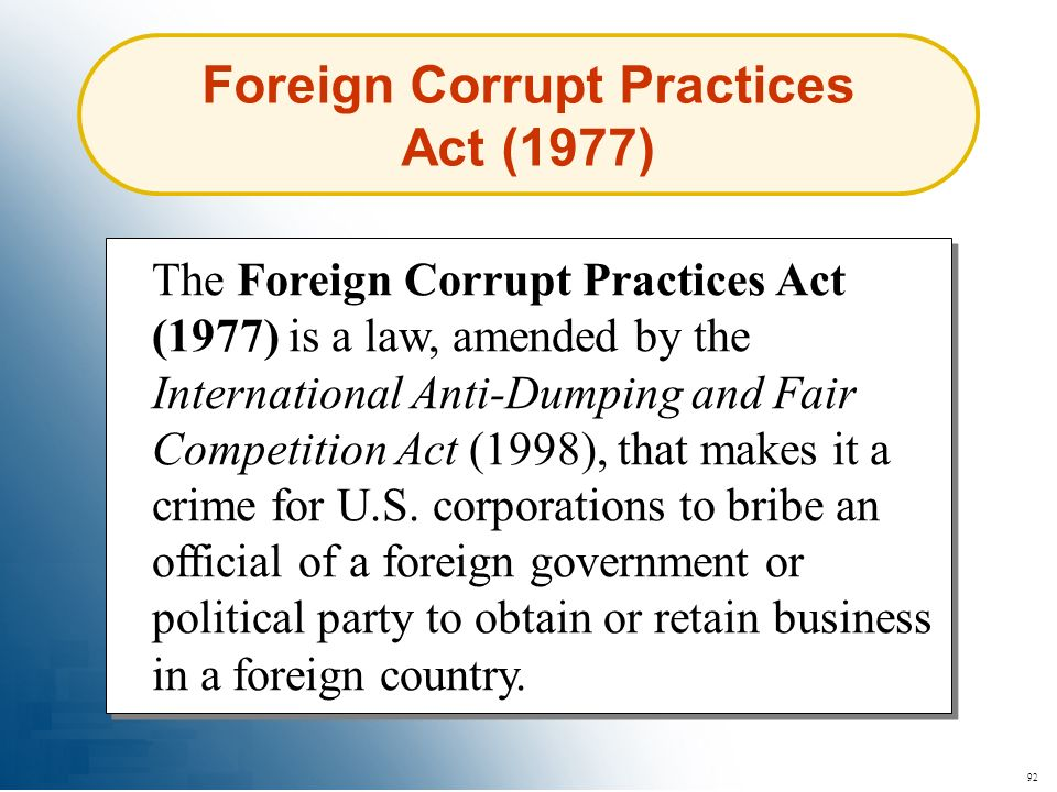 Foreign Corrupt Practices Act (1977)