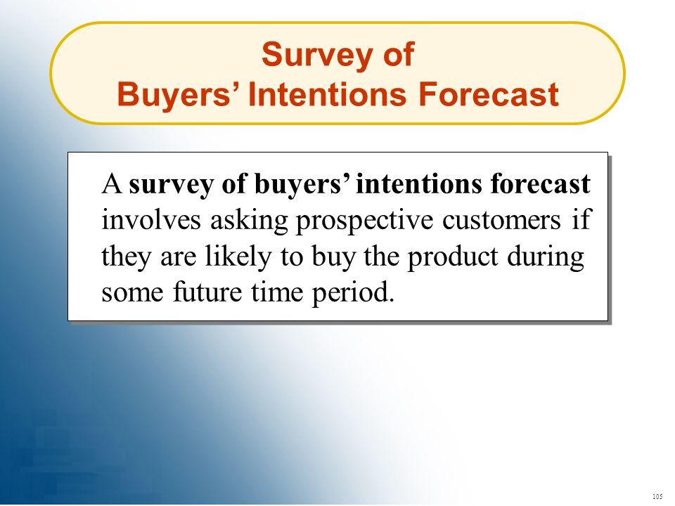 Survey of Buyers' Intentions Forecast