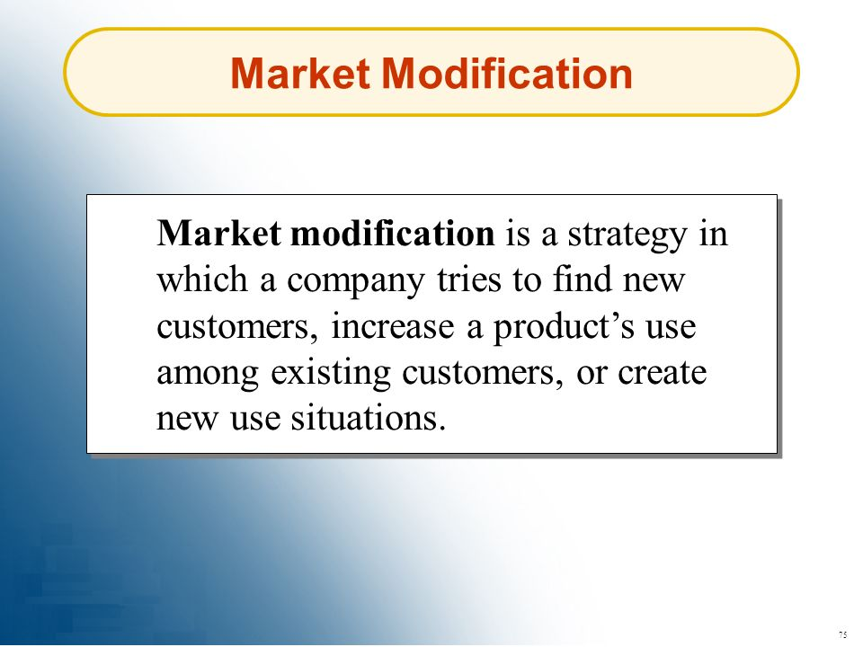 Market Modification