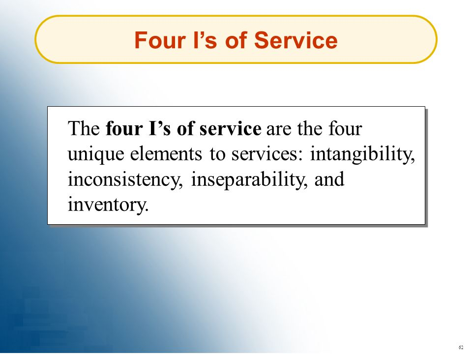 Four I's of Service The four I's of service are the four unique elements to services: intangibility, inconsistency, inseparability, and inventory.