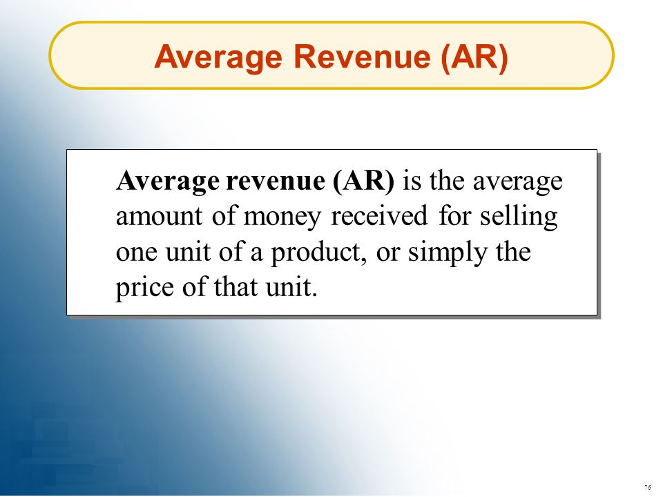 Average Revenue (AR)