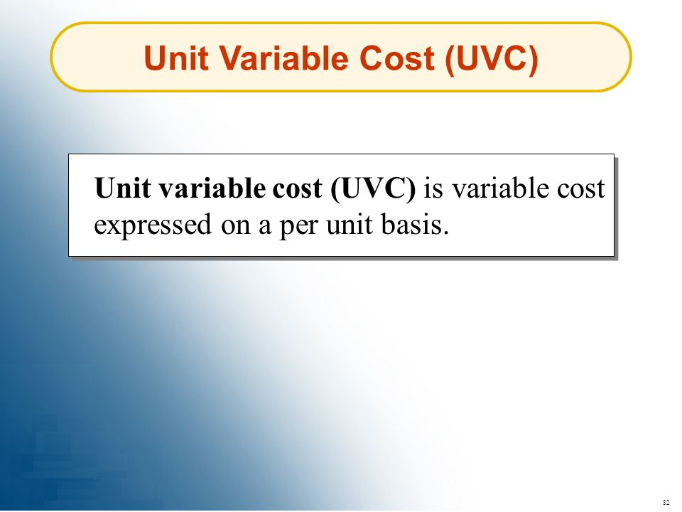 Unit Variable Cost (UVC)