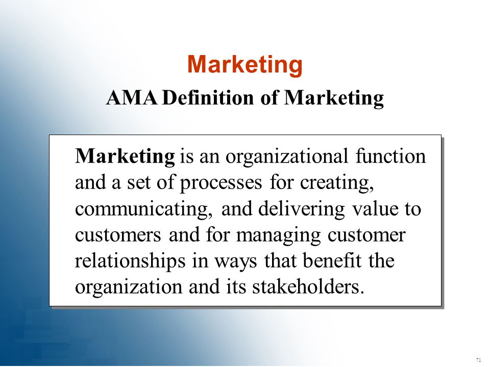 AMA Definition of Marketing