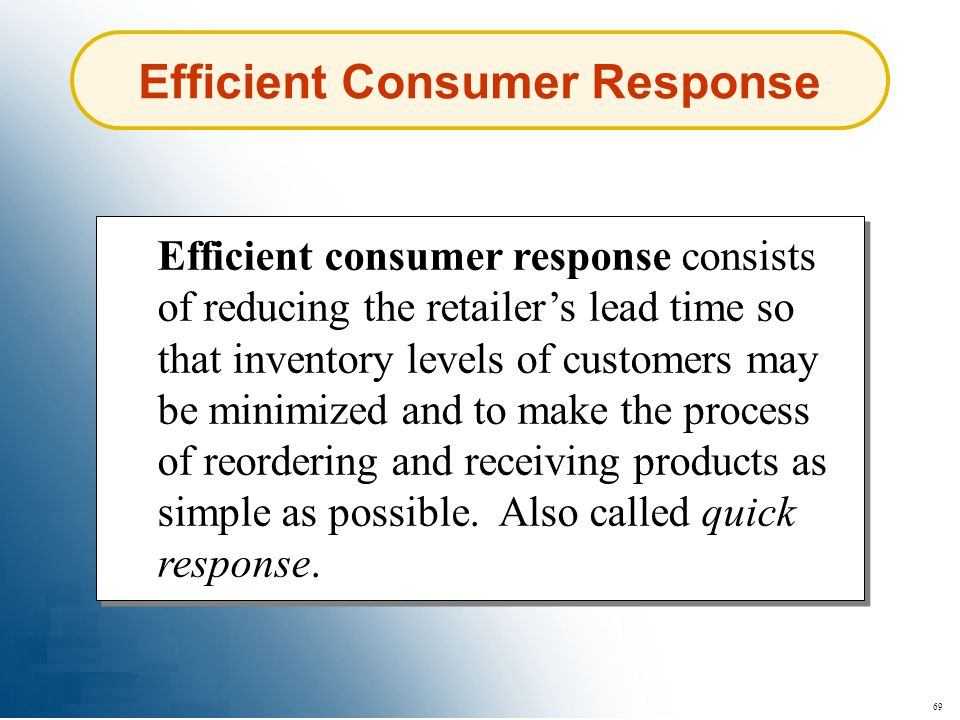 Efficient Consumer Response