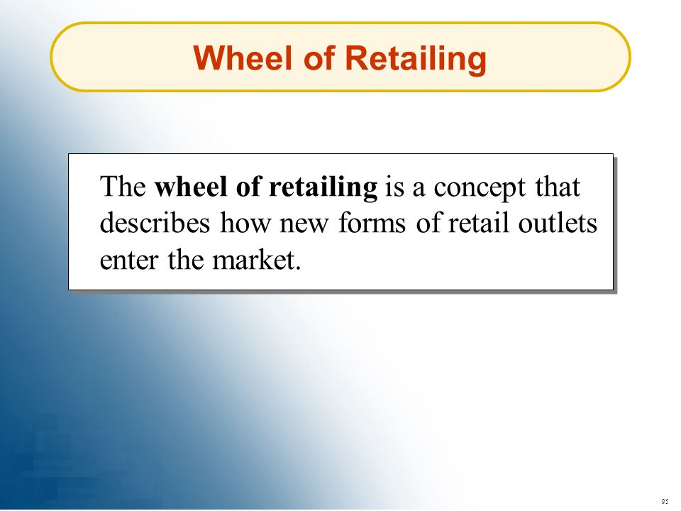 Wheel of Retailing The wheel of retailing is a concept that describes how new forms of retail outlets enter the market.
