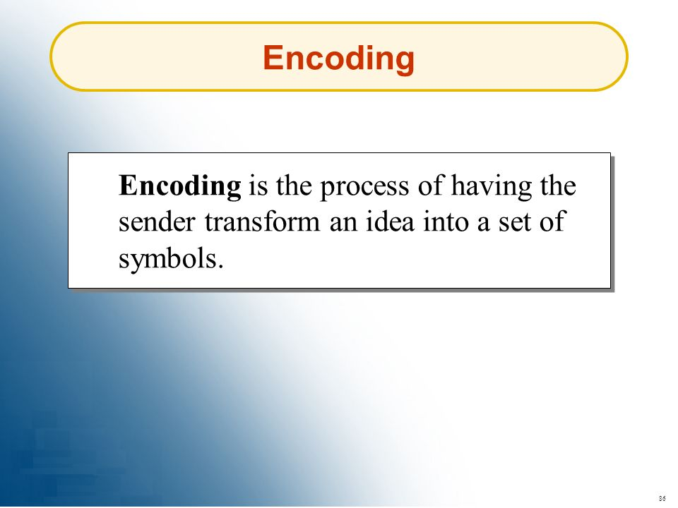 Encoding Encoding is the process of having the sender transform an idea into a set of symbols. 86