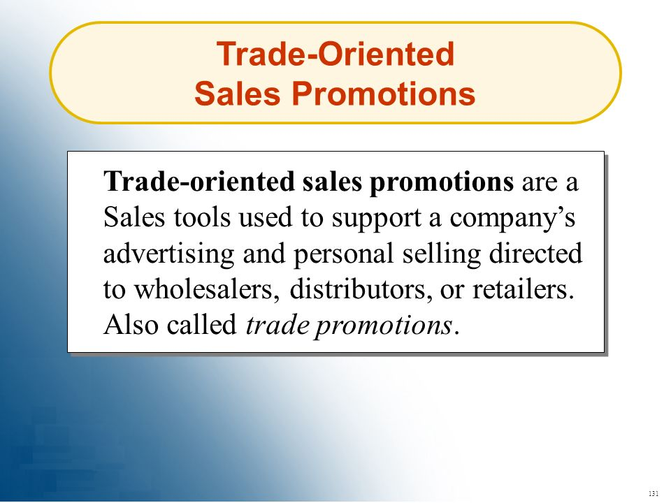Trade-Oriented Sales Promotions