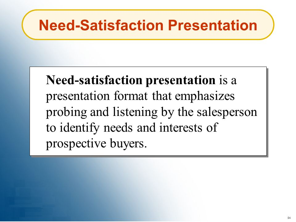 Need-Satisfaction Presentation