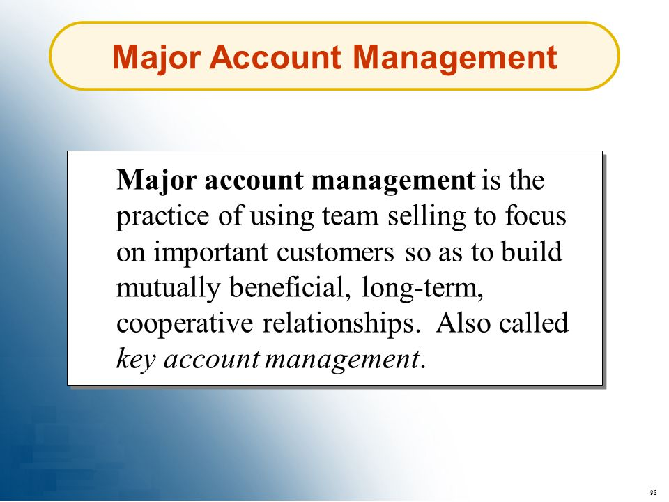 Major Account Management