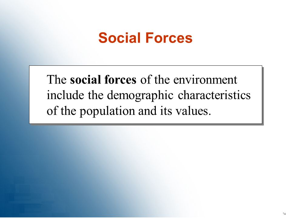 Social Forces The social forces of the environment include the demographic characteristics of the population and its values.