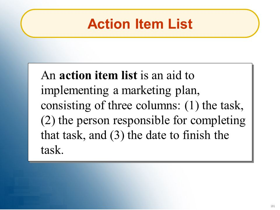 Action Item List