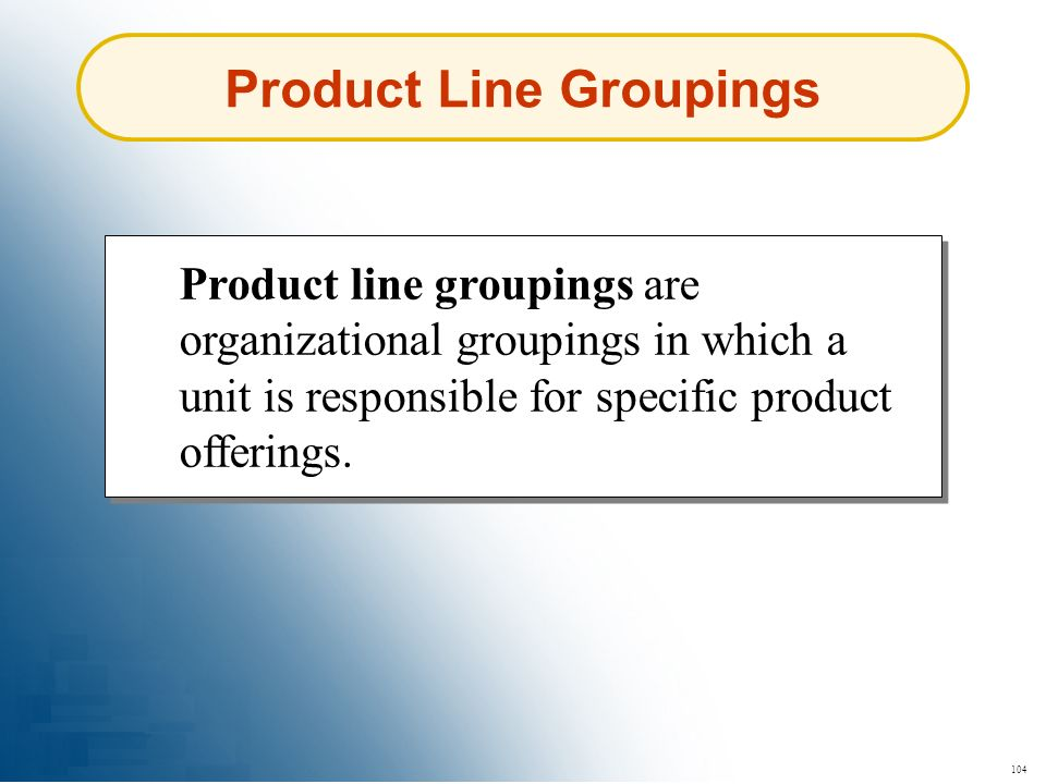Product Line Groupings