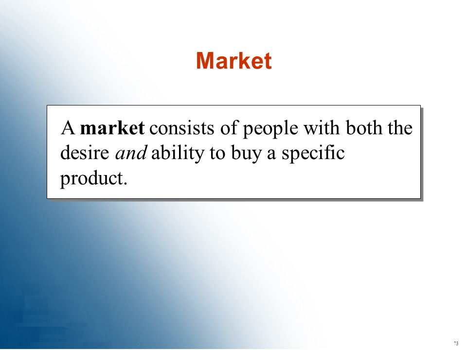 Market A market consists of people with both the desire and ability to buy a specific product. 73