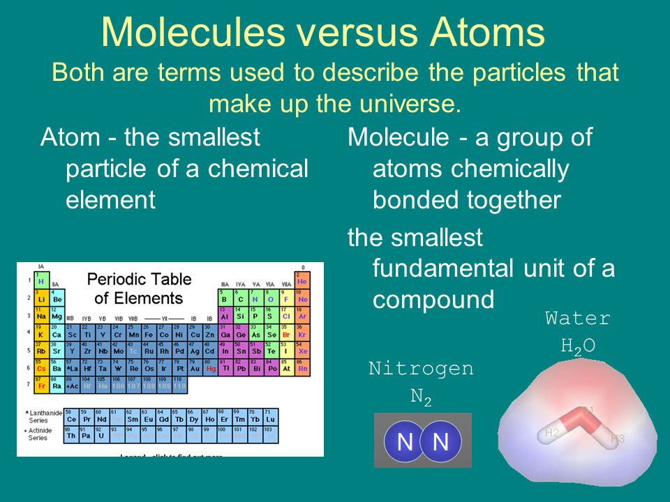 Molecules versus Atoms