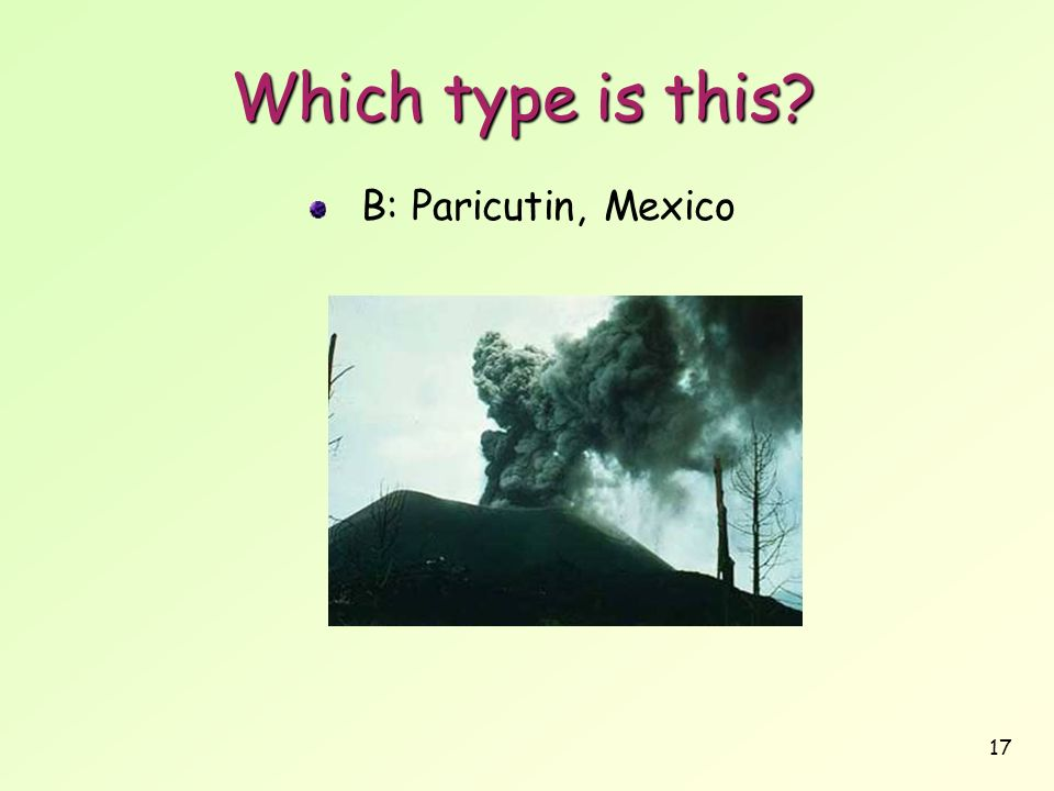 Which type is this B: Paricutin, Mexico