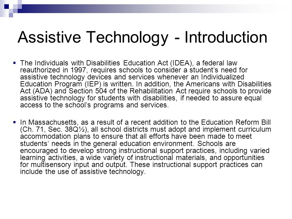 Assistive Technology - Introduction