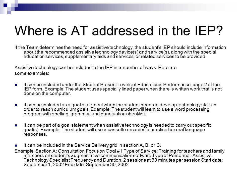 Where is AT addressed in the IEP