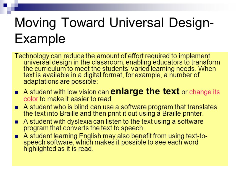 Moving Toward Universal Design- Example