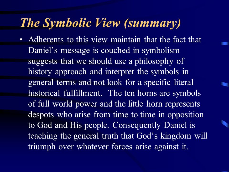 The Symbolic View (summary)