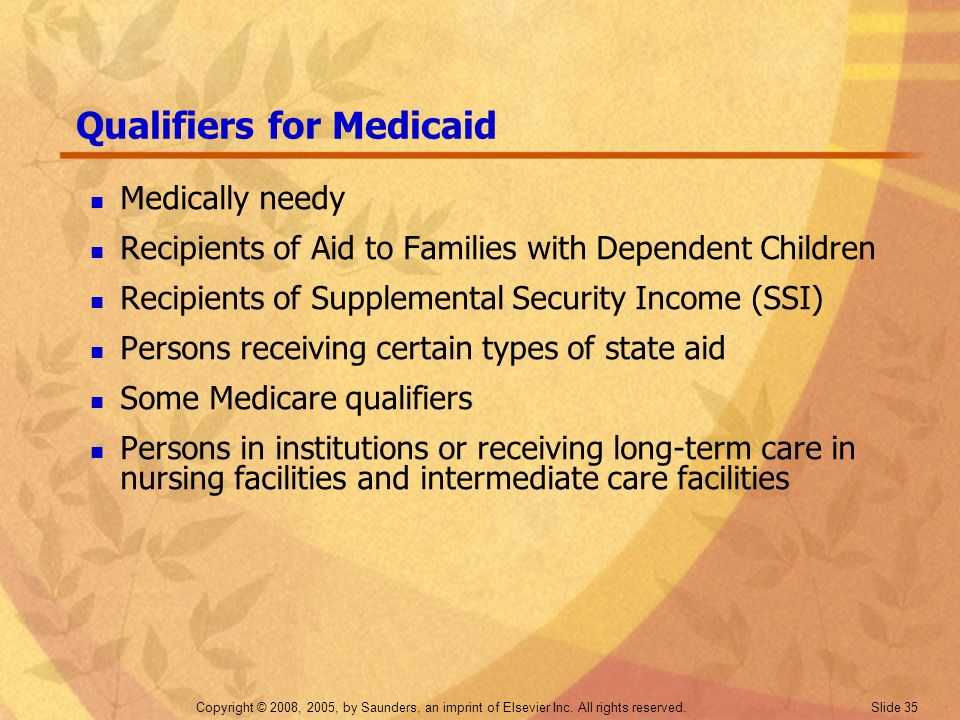 Qualifiers for Medicaid