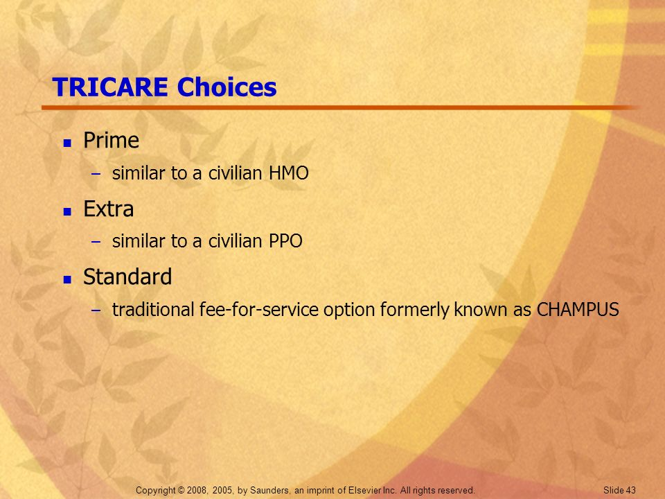 TRICARE Choices Prime Extra Standard similar to a civilian HMO