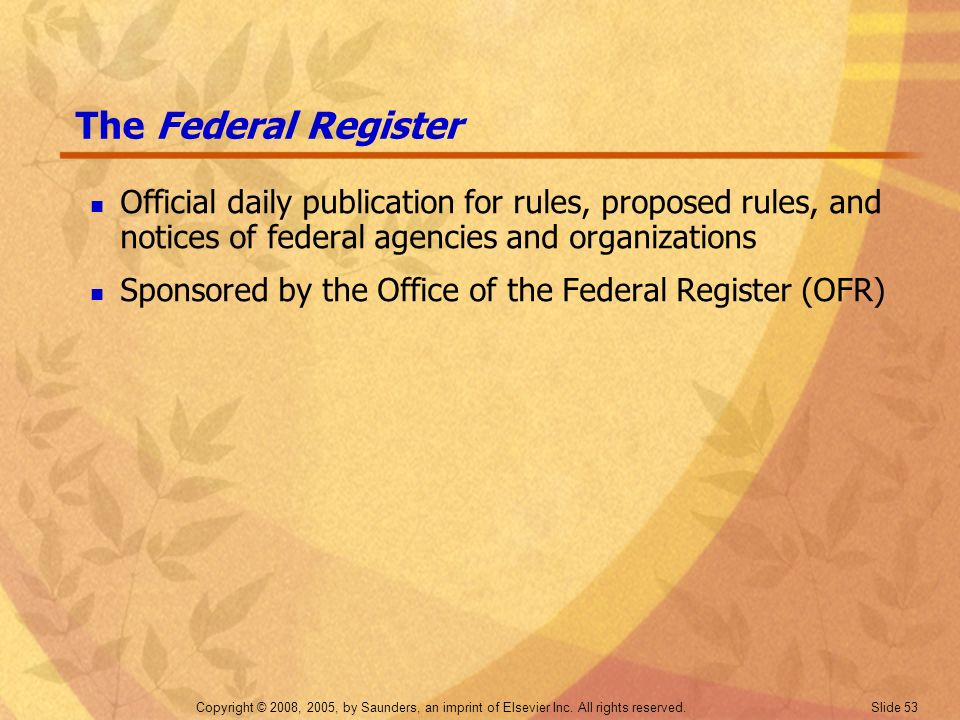 The Federal Register Official daily publication for rules, proposed rules, and notices of federal agencies and organizations.