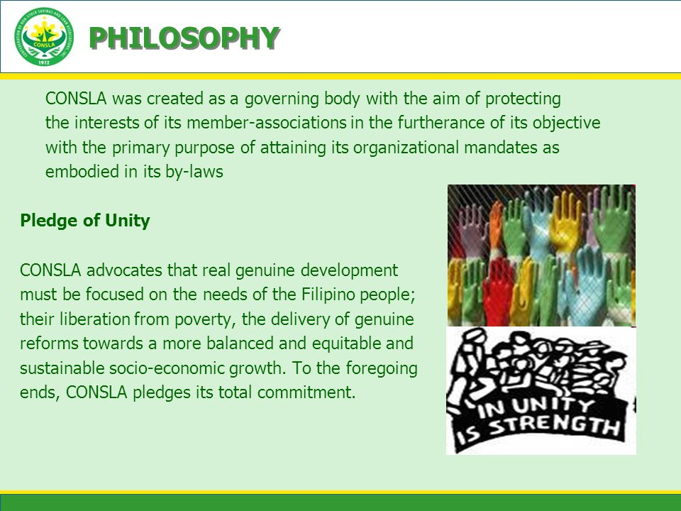 PHILOSOPHY CONSLA was created as a governing body with the aim of protecting.