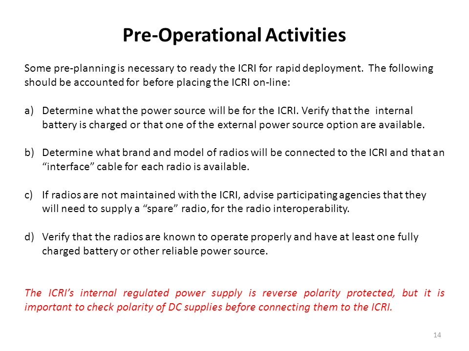 Pre-Operational Activities