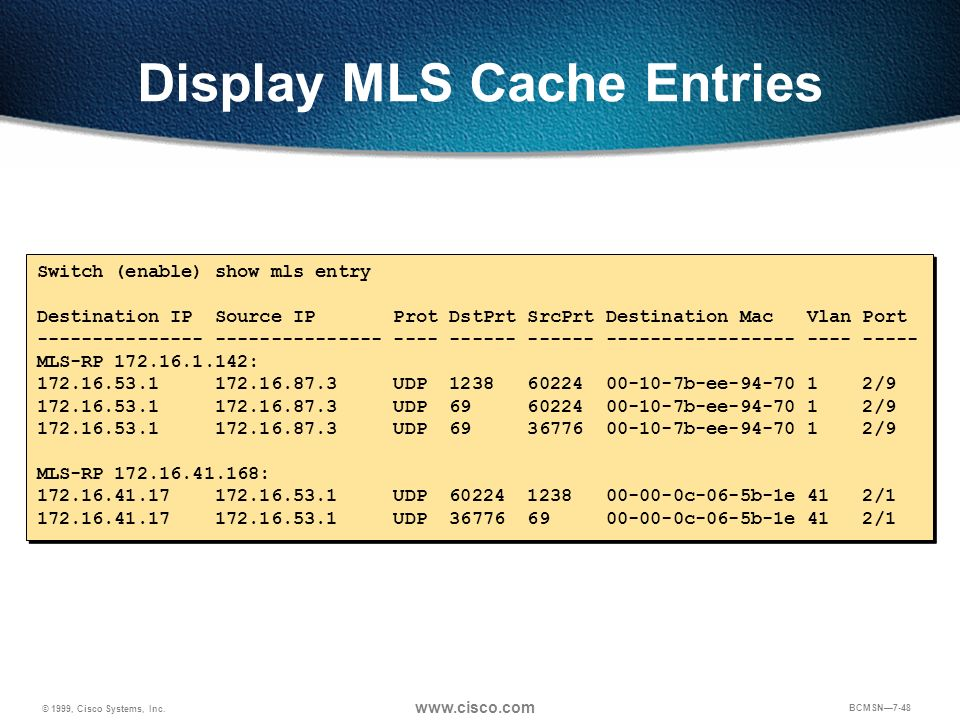 Display MLS Cache Entries