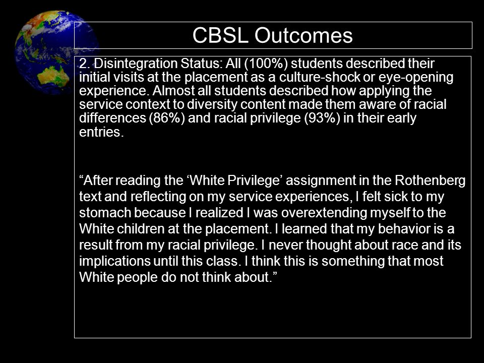 CBSL Outcomes 2. Disintegration Status: All (100%) students described their. initial visits at the placement as a culture-shock or eye-opening.