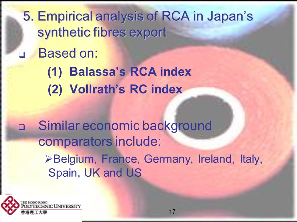 5. Empirical analysis of RCA in Japan's synthetic fibres export