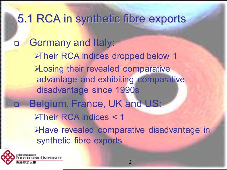 5.1 RCA in synthetic fibre exports