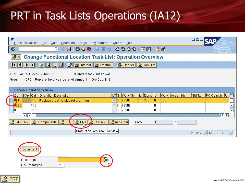PRT in Task Lists Operations (IA12)