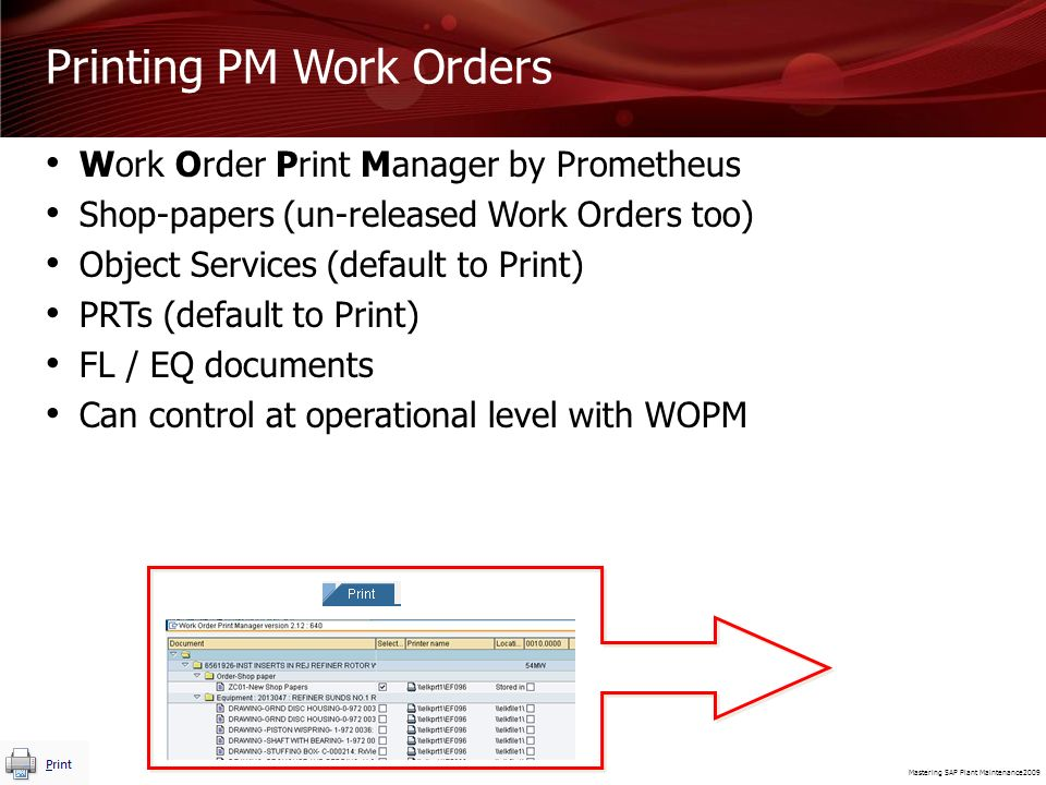 Printing PM Work Orders