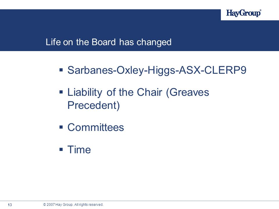 Life on the Board has changed
