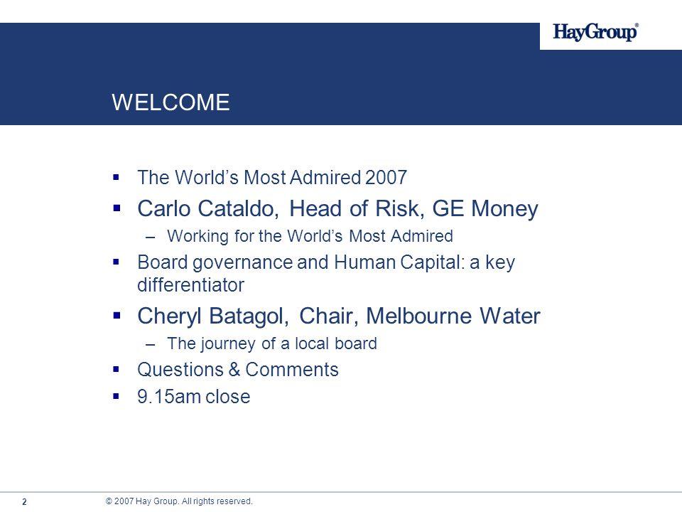 Richard Hardwick Managing Director Hay Group Pacific