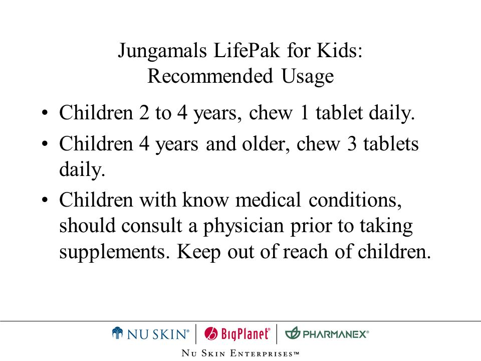 Jungamals LifePak for Kids: Recommended Usage
