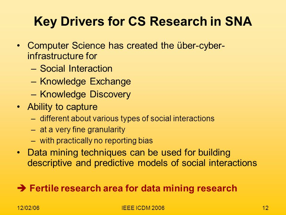 Key Drivers for CS Research in SNA