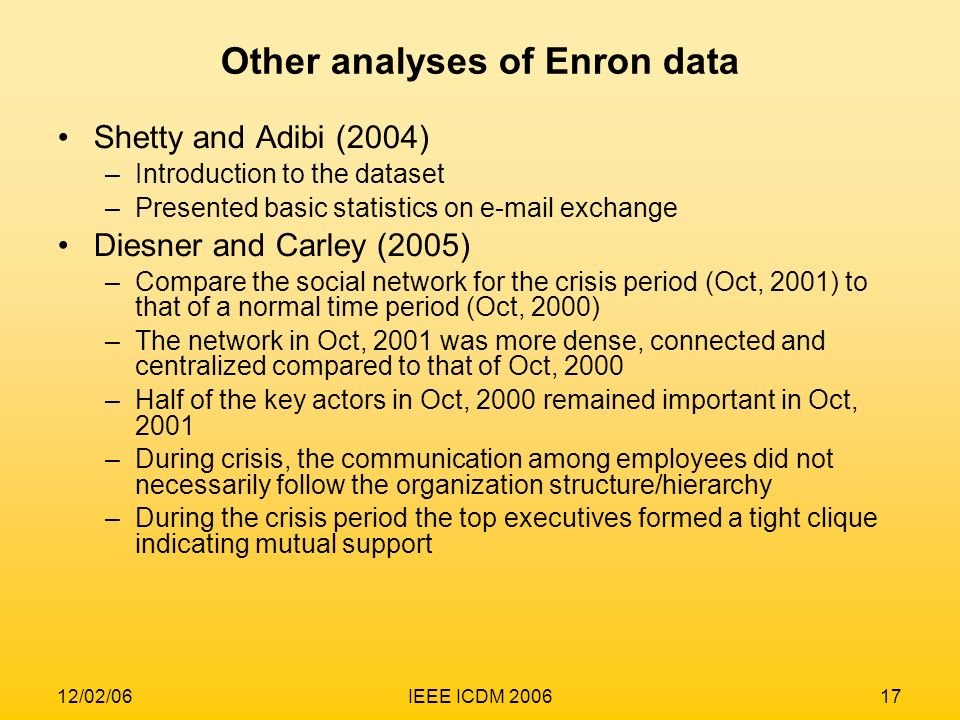 Other analyses of Enron data