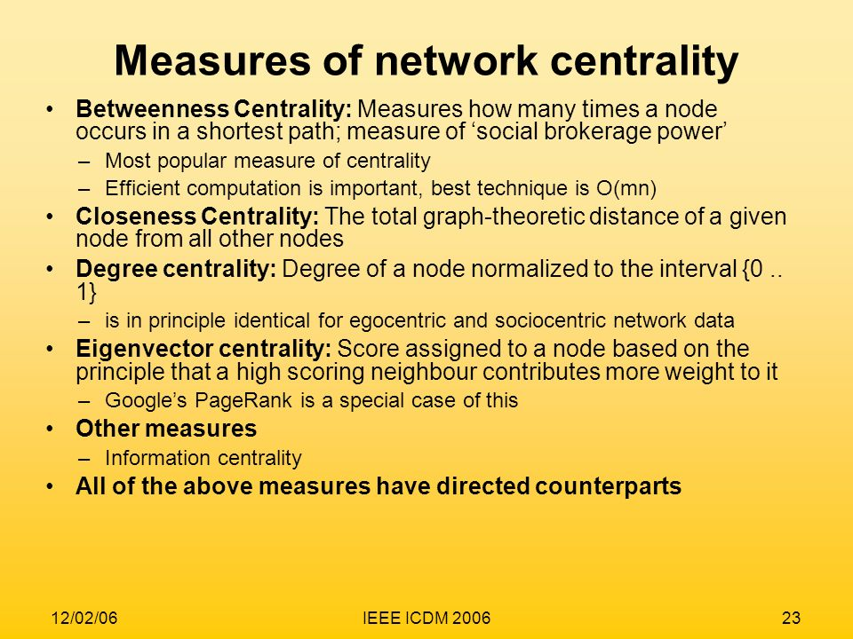Measures of network centrality