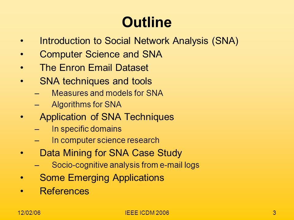 Outline Introduction to Social Network Analysis (SNA)