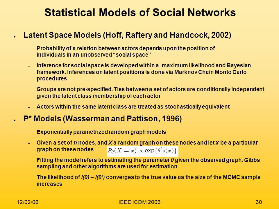Statistical Models of Social Networks