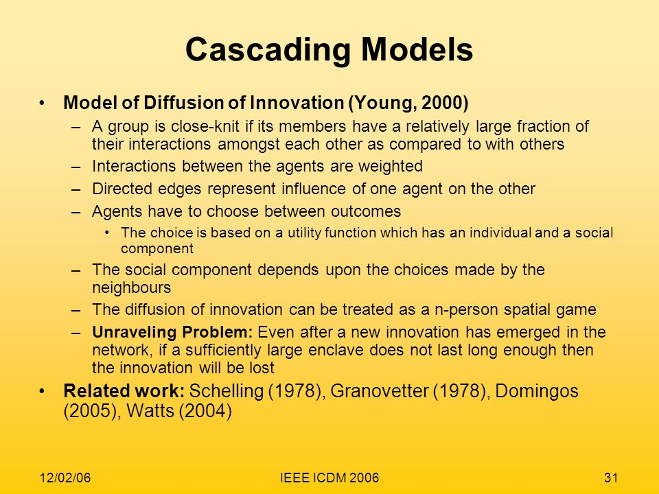 Cascading Models Model of Diffusion of Innovation (Young, 2000)