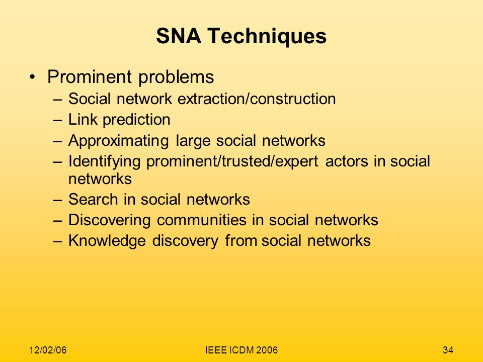 SNA Techniques Prominent problems