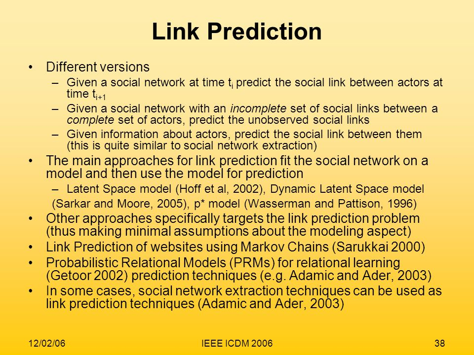 Link Prediction Different versions
