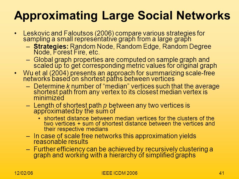 Approximating Large Social Networks
