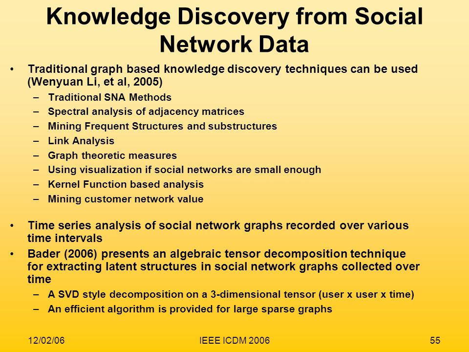 Knowledge Discovery from Social Network Data