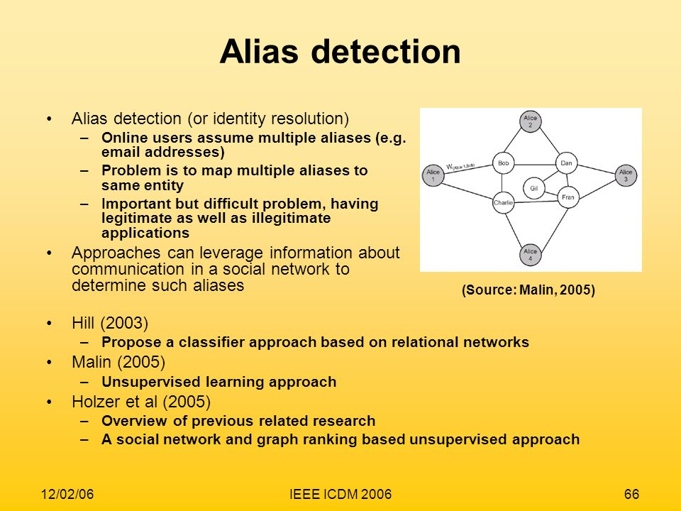 Alias detection Alias detection (or identity resolution)